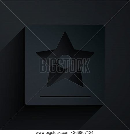 Paper Cut Hollywood Walk Of Fame Star On Celebrity Boulevard Icon Isolated On Black Background. Famo