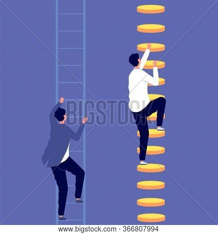 Career Inequality. Social Gap, Employee Discrimination. Tiny Business Professionals On Ladders. Mone