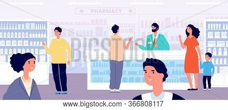Pharmacy Store. Pharmacist Medical Shopping, Woman In Drugstore Interior. People Buy Medication. Pat