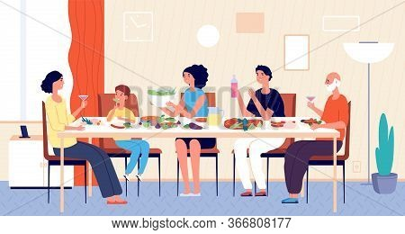 Family Dinner. People Eating, House Holiday Meals. Dining Or Living Room, Man Woman Kids Sitting At