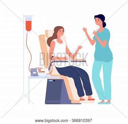 Blood Transfusion. Girl Donor, Flat Female Volunteer And Nurse. Isolated Hospital Procedure, Female