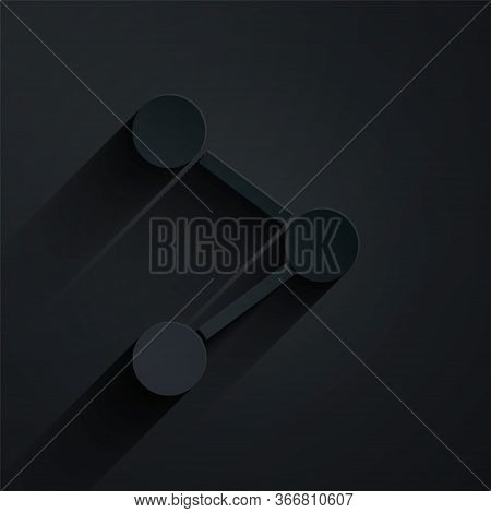 Paper Cut Share Icon Isolated On Black Background. Share, Sharing, Communication Pictogram, Social M