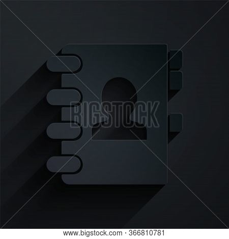 Paper Cut Address Book Icon Isolated On Black Background. Notebook, Address, Contact, Directory, Pho