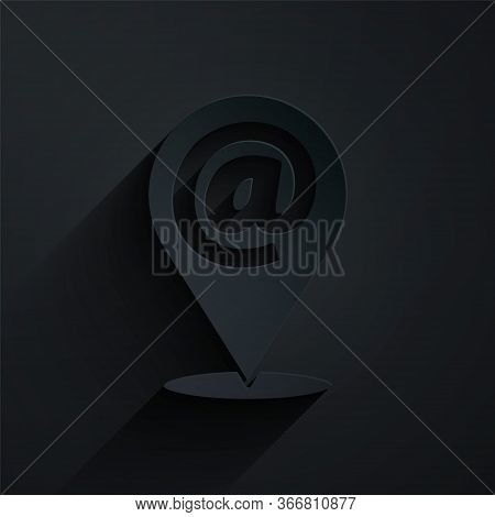 Paper Cut Location And Mail And E-mail Icon Isolated On Black Background. Envelope Symbol E-mail. Em