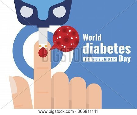World Diabetes Day - Close Up Glucose Testing Blood On Finger And Blood Glucose Zoom Vector Design