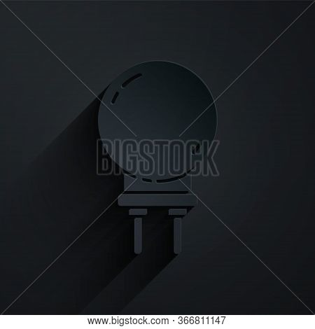 Paper Cut Light Emitting Diode Icon Isolated On Black Background. Semiconductor Diode Electrical Com