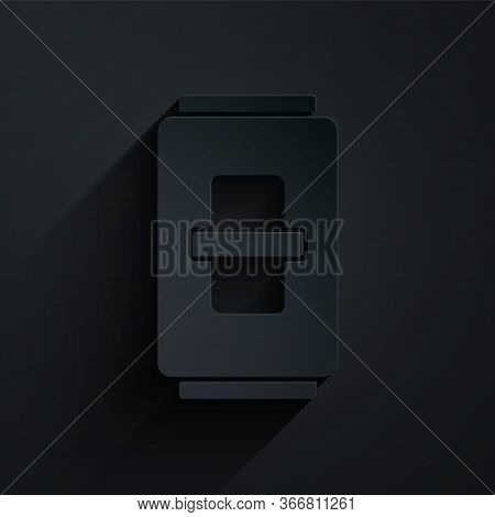 Paper Cut Electric Light Switch Icon Isolated On Black Background. On And Off Icon. Dimmer Light Swi