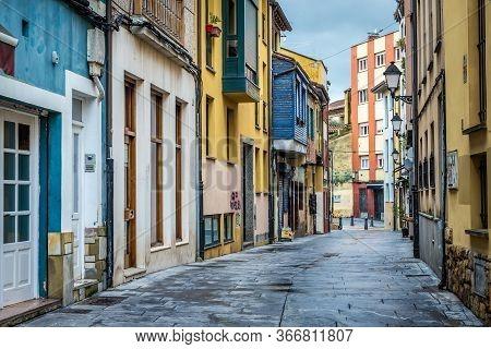 Gijon, Spain - January 25, 2019: Town Houses On Rosario Street In Historic Part Of Gijon City, North