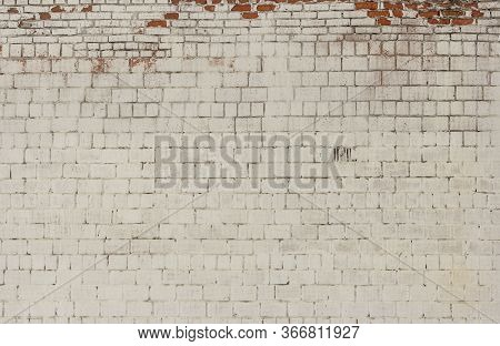 Brick Background, The Wall Of An Old Brick Building Painted White With Elements Of Destruction
