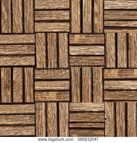 Seamless texture of wooden floor with square elements. Texture of old wood planks of brown color. Endless texture can be used for wallpaper, pattern fills, web page background, surface textures