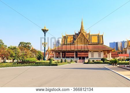 Pavilion in garden of Royal Palace complex, Phnom Penh, Cambodia