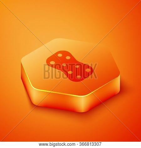 Isometric Sponge With Bubbles Icon Isolated On Orange Background. Wisp Of Bast For Washing Dishes. C