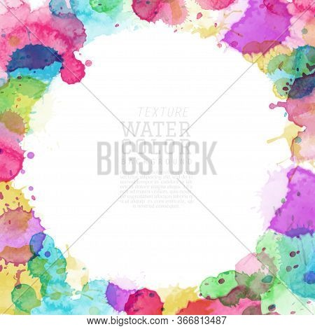 Abstract Surface Of Multicolored Splash Watercolor Blot. Artistic Hand-painted Vector, Element For B