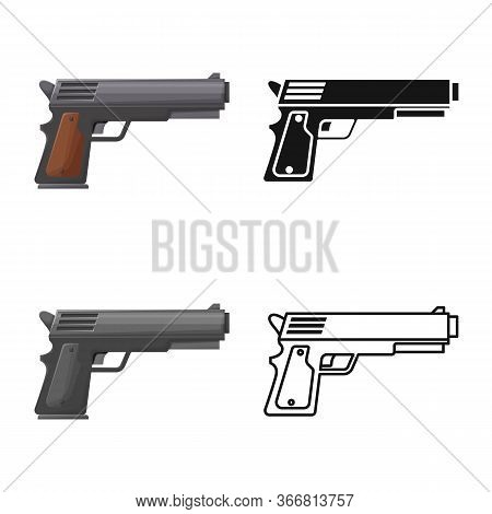 Vector Design Of Pistol And Caliber Symbol. Graphic Of Pistol And Handgun Vector Icon For Stock.