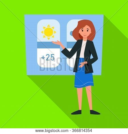 Vector Illustration Of Anchorman And Weather Icon. Web Element Of Anchorman And News Stock Symbol Fo