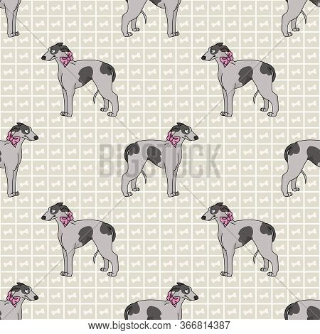 Hand Drawn Cute Greyhound Dog With Pink Bow Seamless Vector Pattern. Purebred Pedigree Fast Puppy Do