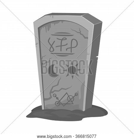 Isolated Object Of Tombstone And Stone Sign. Web Element Of Tombstone And Gravestone Stock Symbol Fo