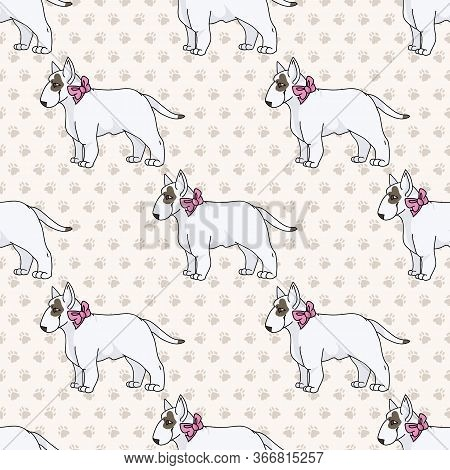 Hand Drawn Cute Bull Terrier Dog With Pink Bow Seamless Vector Pattern. Purebred Pedigree Show Dog P