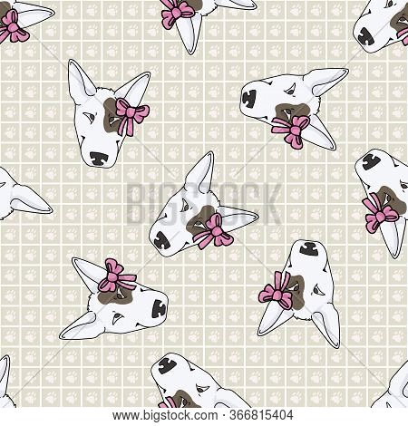 Hand Drawn Cute Bull Terrier Dog Face With Pink Bow Seamless Vector Pattern. Purebred Pedigree Show
