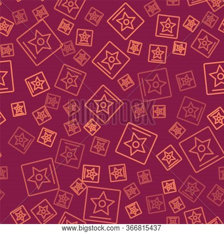 Brown Line Hollywood Walk Of Fame Star On Celebrity Boulevard Icon Isolated Seamless Pattern On Red
