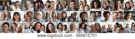 Many Happy Multiracial People And Families Faces Headshots, Banner Collage