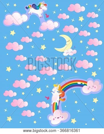 Help The Rainbow Unicorn To Reach His Friend Jumping On Clouds . Color Maze Or Labyrinth Game For Pr