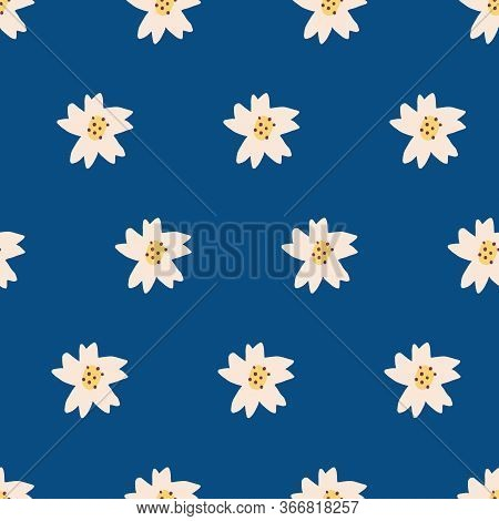 Cute Repeat Tulip Wildflower Pattern With Pantone Color Of The Year Classic Blue Background. Seamles