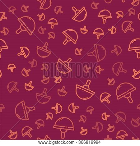 Brown Line Light Emitting Diode Icon Isolated Seamless Pattern On Red Background. Semiconductor Diod