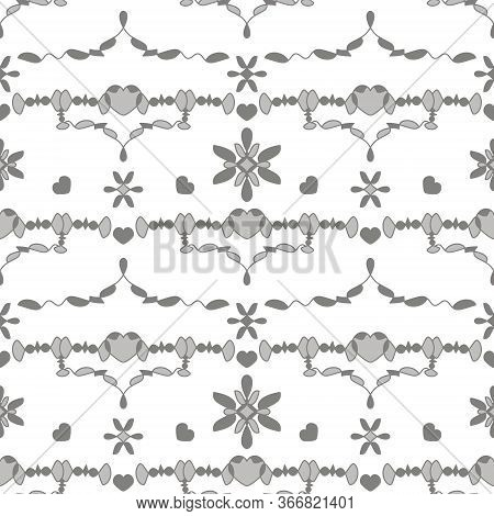 Seamless Pattern With Little Hearts. Color White And Grey. Vector.