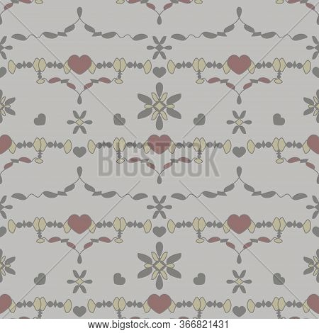 Seamless Pattern With Little Hearts. Grey, Light Grey, Light Green And Burgundy Color . Vector.