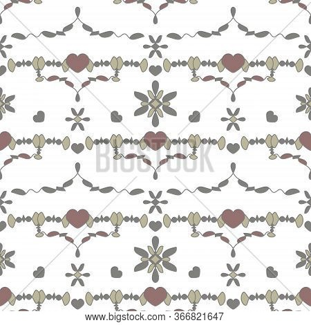 Seamless Pattern With Little Hearts. White, Grey, Light Grey, Light Green And Burgundy Color . Vecto