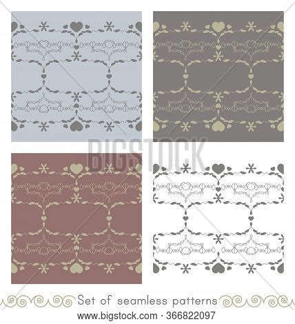 Set Of Seamless Patterns With Little Hearts. Color Light Blue, Light Green, White, Grey And Burgundy