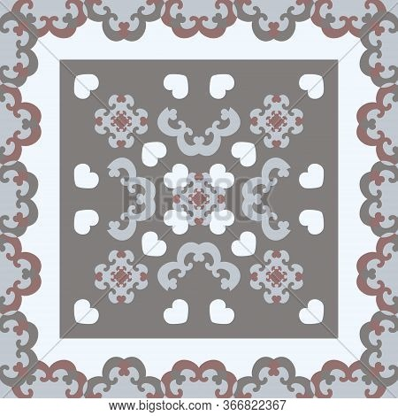 Seamless Pattern. Fancy Frame With Hearts. White, Grey, Light Blue, And Burgundy Color . Vector