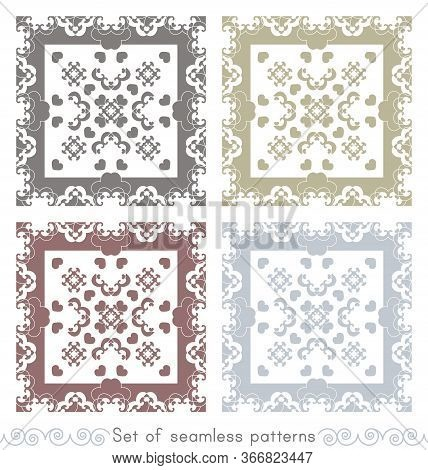Set Of Seamless Patterns. Fancy Frame With Hearts. Grey, Light Blue, Light Green And Burgundy Color