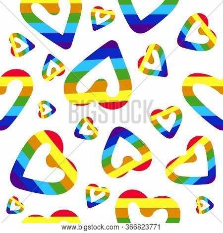 Seamless pattern with LGBT icons. Flag LGBT, hearts. Template design, vector illustration. Rainbow lgbt spectrum flag of Gay Pride Movement, homosexuality emblem. The pride flag representing LGBT pride. LGBT rights concept. Love wins. Logo rainbow symbols
