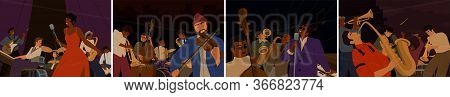 Set Of Cartoon Diverse Musicians Playing On Musical Instruments And Singing Vector Flat Illustration