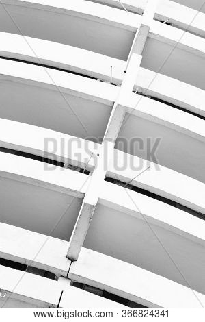 Abstract Black And White Photo Of A White Old Architectural Structure Diagonally Inclined To The Rig