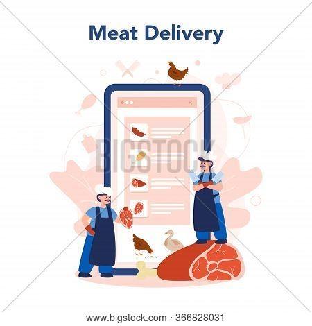 Butcher Or Meatman Online Service Or Platform. Online