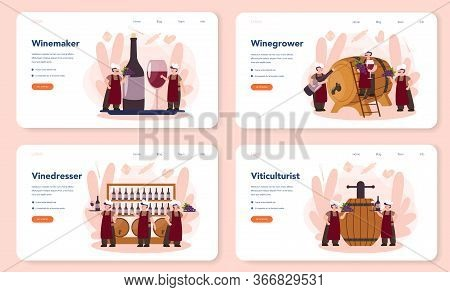 Wine Maker Web Banner Or Landing Page Set. Man Wearing His Apron