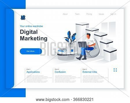 Digital Marketing Isometric Landing Page. Marketer Working With Laptop In Office Situation. Digital