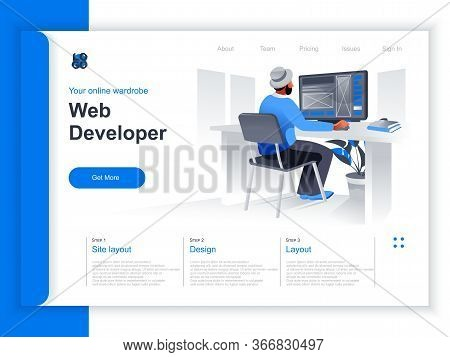 Web Development Isometric Landing Page. Web Designer Working With Computer In Office Situation. Ui,