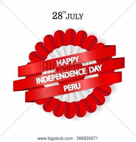 Vector Illustration Of Peru Independence Day. Сockade National Symbol Of Peru.