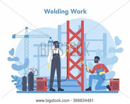 Welder And Welding Service Concept. Professional Welder