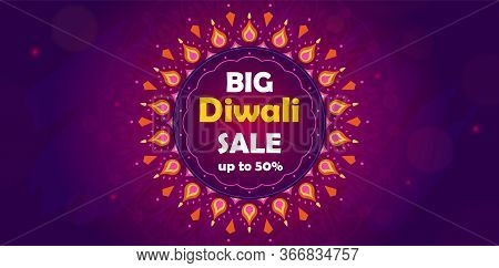 Diwali Festival Big Sale. Purple Colors. Festival Of Oil Lamps. Diwali Marketing Solution For Sale.