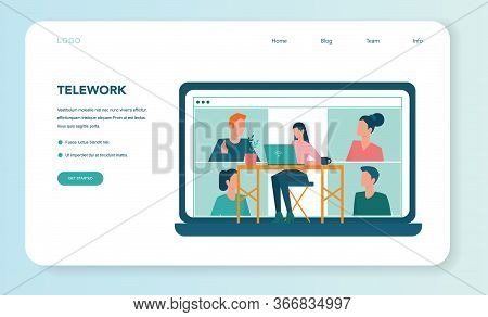 Remote Working Web Banner Or Landing Page. Telework