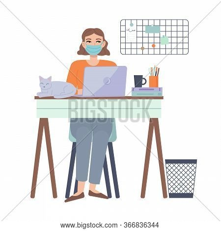 Girl Sitting With Laptop At Home With Protective Face Mask. Leisure Time At Home. Home Office, Worki