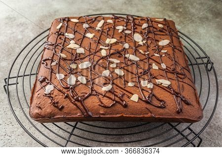 Homemade Brownie With Chocolate And Almond Petals On A Metal Stand. Close Up. Horizontal Orientation