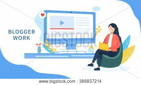Blogger Girl Concept. The Girl Sits In The Seat And Thinks Of Creative Ideas. Analyzes Trends And Ed