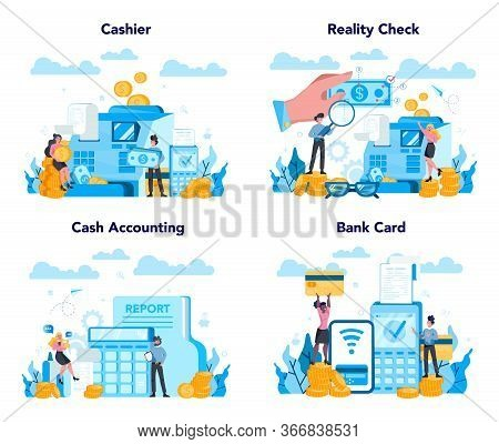 Cashier Concept Set. Worker Behind The Cashier Counter