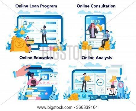 Loan Manager Online Service Or Platform Set. Bank Employee That Work
